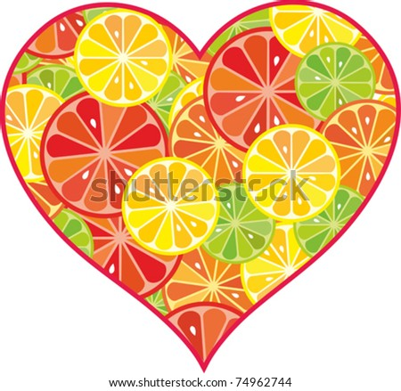 citrus fruit heart. Isolated on white background. Vector illustration