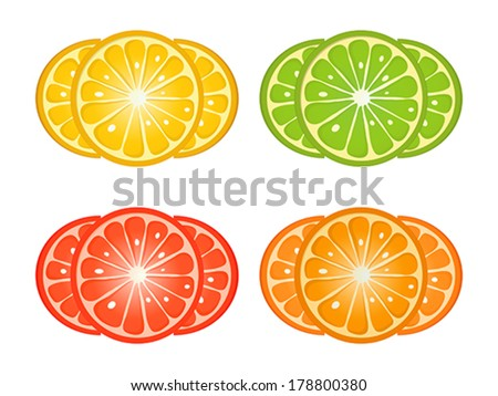 Citrus fruit slices over white background. Orange, lemon, grapefruit, lime design elements.