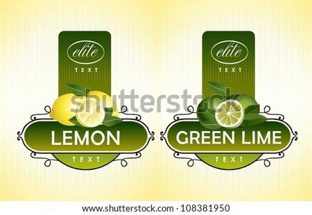 Citrus fruits. Lemon, green lime - stock vector