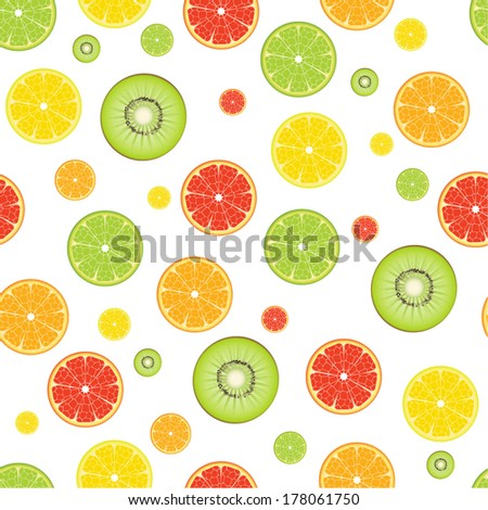 Citrus Kiwi Fruit seamless pattern