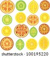 Citrus pattern, lemon, lime, orange - stock vector