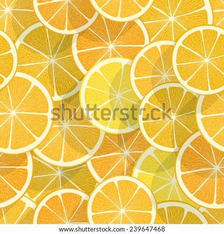Citrus seamless background. Orange - stock vector