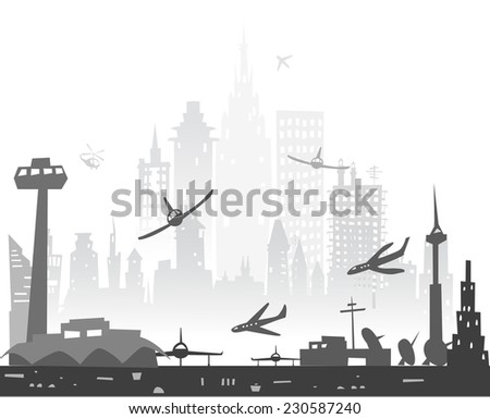 City airport and town made of buildings silhouettes