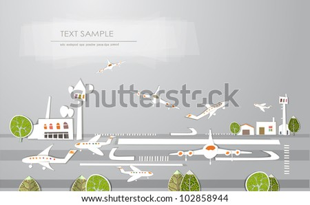 """City airport background """"White city"""" collection - stock vector"""