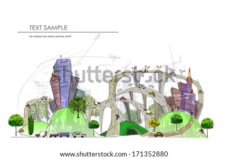 City and busy roads illustration City collection - stock vector