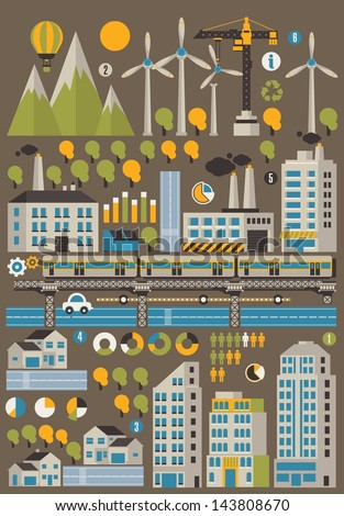 City and ecology info graphic background - stock vector