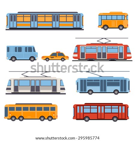 City and intercity transportation vehicles icon set. Trains, subway, buses and taxi. Flat style illustration or icon - stock vector