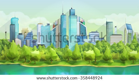 City and nature, vector landscape - stock vector