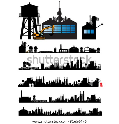 City and Old Factory silhouette set - stock vector