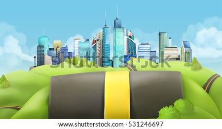 City and road. Vector landscape