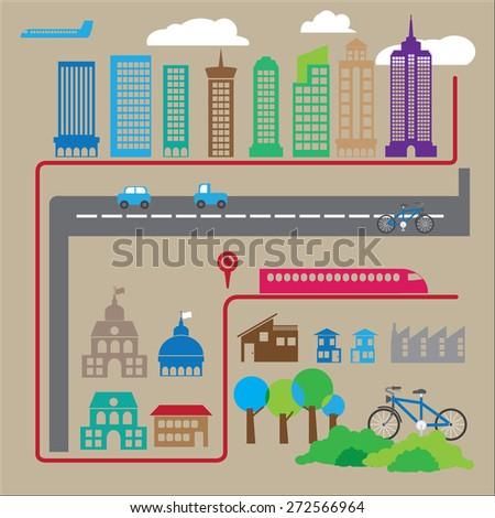City and transportation urban life - stock vector