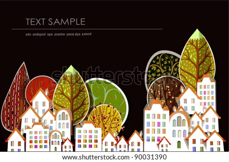 City and trees background - stock vector