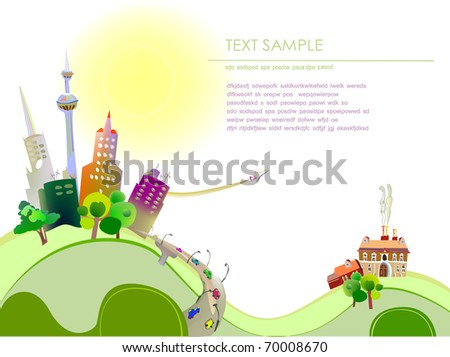 city and village background - stock vector