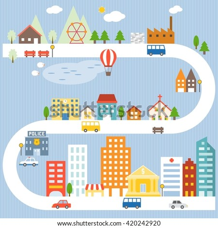 City and village lifestyle info graphic with blue background, flat design - stock vector