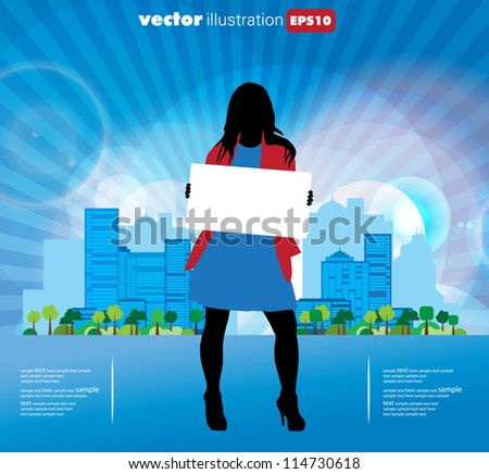 City and woman hanging empty banner - stock vector