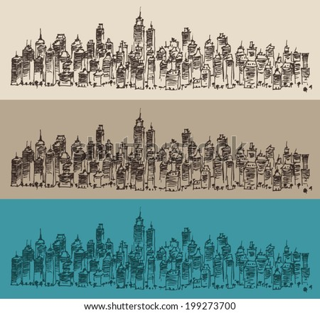 city architecture, vintage engraved illustration, hand drawn, sketch - stock vector