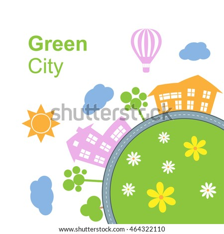 City around circle with building and road. Round town landscape. Vector illustration isolated on white