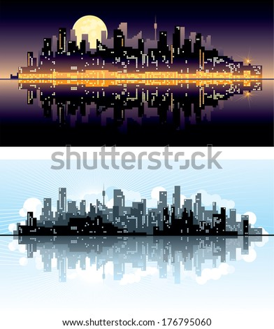 City at day and night. Vector abstract town silhouettes of skyscrapers on night and day background.