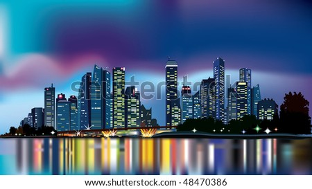 city at night reflecting over calm waters, with dramatic sky in the background