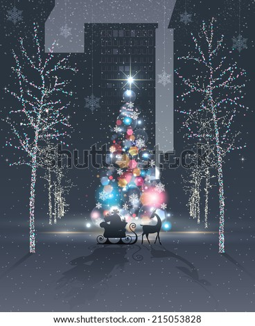 City at night. Reindeer and Santa's sleigh with gifts are in front of beautiful decorated and illuminated colorful Christmas tree. Lighted trees. Holidays spirit concept. Vector EPS 10 illustration.  - stock vector