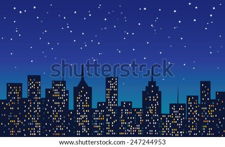 city at night under the stars