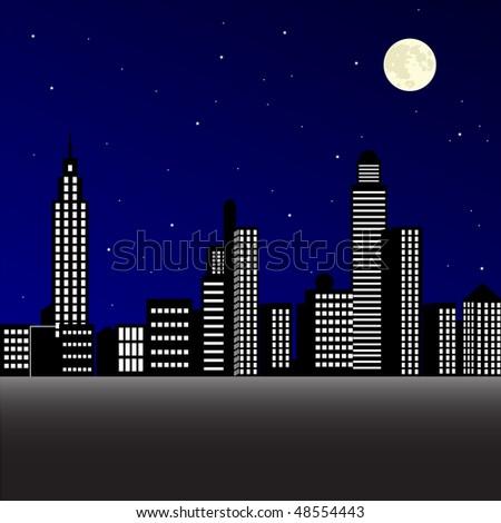 City at night vector - stock vector