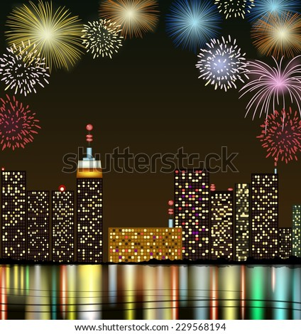 City at night with fireworks - stock vector
