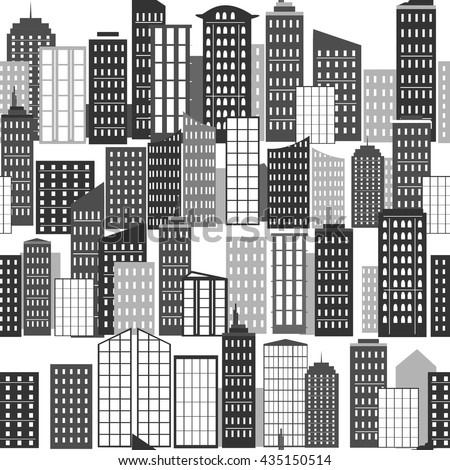 City background. City buildings rows. City silhouette. Seamless pattern. Skyscrapers vector. - stock vector