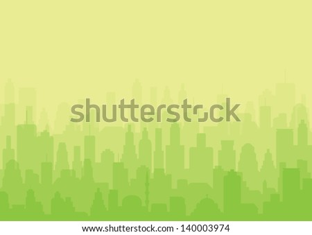 City Background, green vector - stock vector