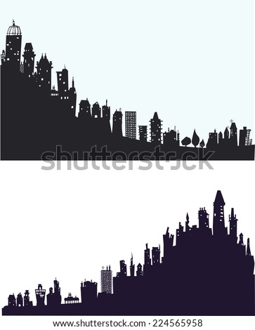 City background made of different building silhouettes