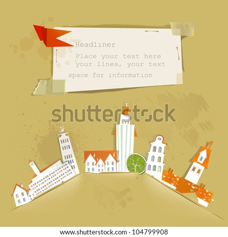 city background made of paper - stock vector