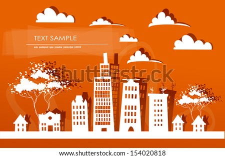 City background made of paper stickers - stock vector