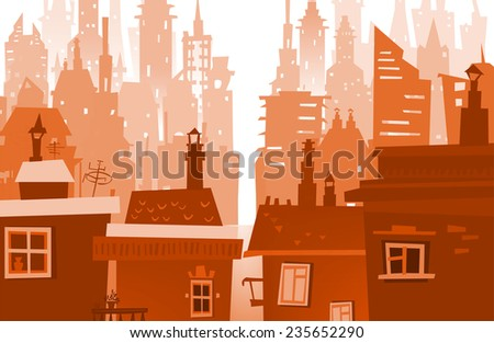 City background made with lots of building silhouettes - stock vector