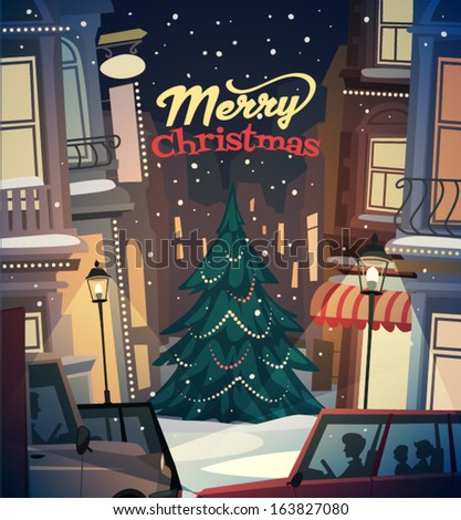City background. Merry Christmas illustration. - stock vector