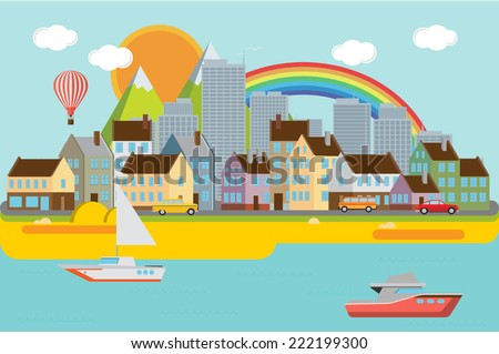 City background with sea - stock vector