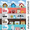 City banenr retro illustration with colorful icons - stock vector