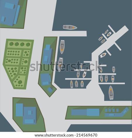 City bay - stock vector