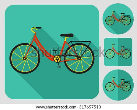 City bike icon. Flat long shadow design. Bicycle icons series. - stock vector