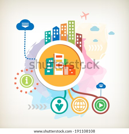 City buildings and cloud on abstract colorful watercolor background with different icon and elements