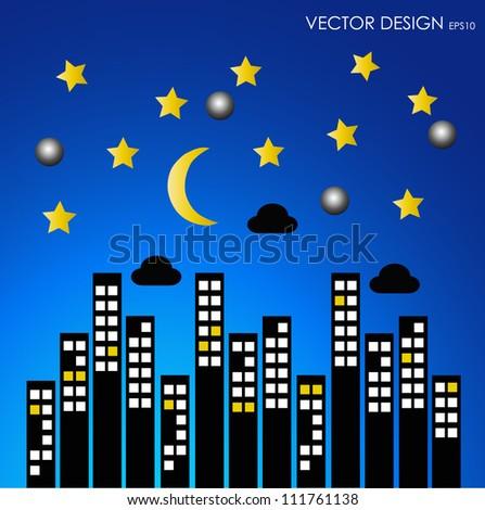 City buildings at night. Vector illustration. - stock vector