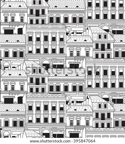 City buildings down town black and white seamless pattern.  Monochrome vector illustration. EPS8 - stock vector
