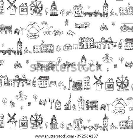 city buildings houses life object outline pattern