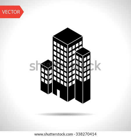city buildings isometric 3d icon - stock vector