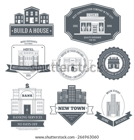 City buildings label template of emblem element for your product or design, web and mobile applications with text. Vector illustration with thin lines isolated icons on stamp symbol.  - stock vector