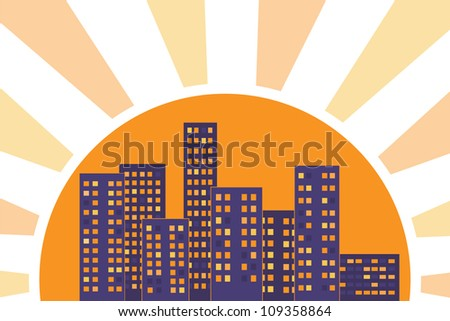 City buildings lit by rays of the sun at sunset - stock vector