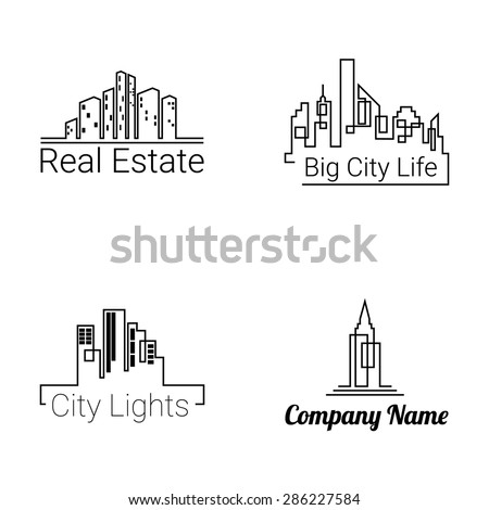 City buildings logo silhouette icons on white background. Vector. City buildings set. City building shapes. City building illustration. - stock vector
