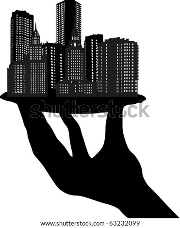 city buildings on plate in human hand illustration - stock vector