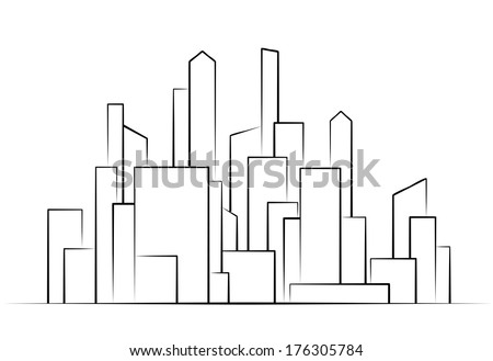 City,  Buildings silhouettes vector  illustration icon - stock vector
