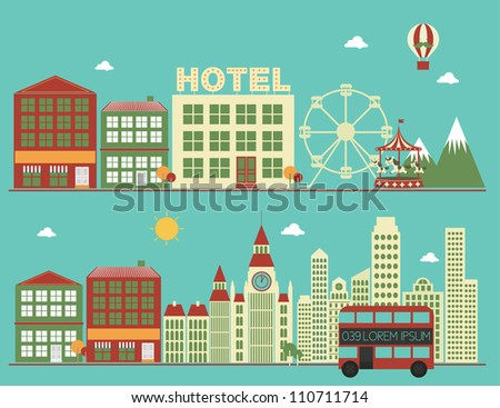 city/buildings vector/illustration - stock vector