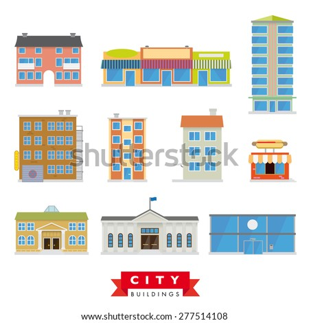 City Buildings Vector Set. Collection of 10 flat design buildings typical of the citiy and urban area. - stock vector